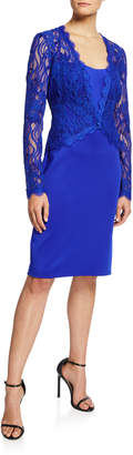 Tadashi Shoji Long-Sleeve Lace & Neoprene Sheath Dress
