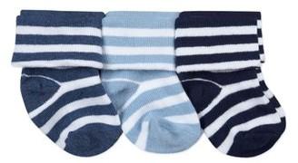 Jefferies Socks Baby Boys Cotton Stripe Turn Cuff Socks, 3-Pack