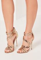 Missguided Wrap Around Lazer Cut Metallic Heeled Sandals Gold