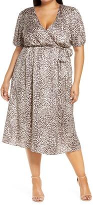 Chi Chi London Curve Animal Print Faux Wrap Satin Dress