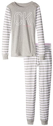 Calvin Klein Kids Two-Piece Set Long Sleeve Top w/ Long Pants - Tight Fit (Little Kids/Big Kids) (Heather Grey) Girl's Pajama Sets