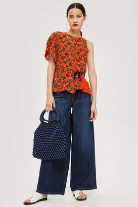 Topshop Womens Floral Print Ruched Top - Red