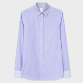 Paul Smith Women's White And Blue Mixed-Stripe Cotton Shirt