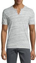 John Varvatos Heathered Short-Sleeve Henley T-Shirt, Gray