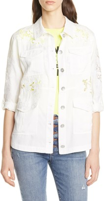 Alice + Olivia Charline Embroidered Military Jacket