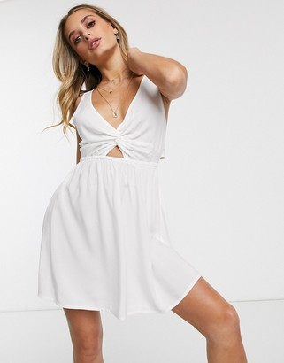 Asos Design DESIGN tie back beach sundress with twist front detail in white