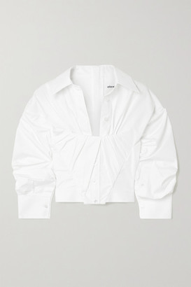 Alexander Wang Gathered Cropped Cotton-poplin Shirt - White