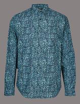 Autograph Italian Fabric Slim Fit Printed Shirt