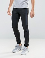 Asos Extreme Super Skinny Jeans With Leather Look Blue Side Panel