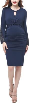 Kimi and Kai Vivian Ruched Maternity Midi Dress