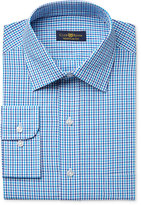 Club Room Estate Men's Classic-Fit Wrinkle Resistant Aqua Gingham Dress Shirt, Created for Macy's
