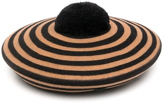 Maison Michel Striped Pompom Beret