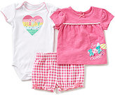 Baby Starters Baby Girls 3-12 Months Solid Top, Gingham-Printed Shorts & Solid Bodysuit Set