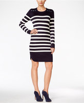 Jessica Howard Button-Accent Striped Sweater Dress
