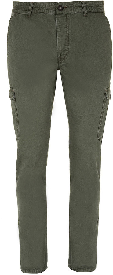Topman Khaki Skinny Cargo Trousers