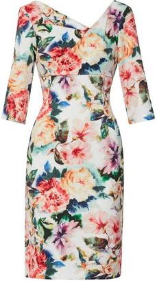 Gina Bacconi Isolena Floral Scuba Dress