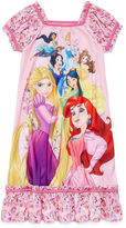 Disney Girls Short Sleeve Princess Nightshirt-Big Kid