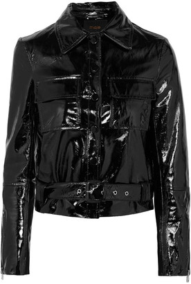 Maje Bliza Cropped Crinkled Patent-leather Jacket