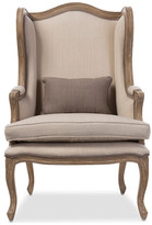 Baxton Studio Oreille Distressed Two-tone Upholstered Armchair, Beige