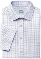 Charles Tyrwhitt Classic Fit Non-Iron Short Sleeve Multi Check Green Cotton Formal Shirt Size 17/Short