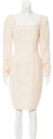 Carmen Marc Valvo Long Sleeve Beaded Lace Dress