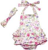 DQdq Baby Girls' Floral Print Ruffles Romper Summer Dress 12 Month