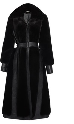 Stella McCartney Belen Faux-Fur & Faux-Leather Belted Coat