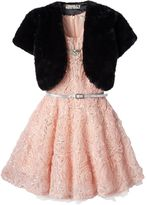 Knitworks Girls 7-16 Faux-Fur Bolero & Soutache Rose Dress with Necklace Set