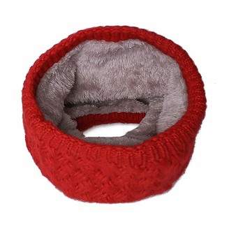 CheChury Women Winter knitted Snood Scarf Thick Fleece Lined Neck Warmer Cosy Double-Layer Soft Loop Infinity Scarf (Red)