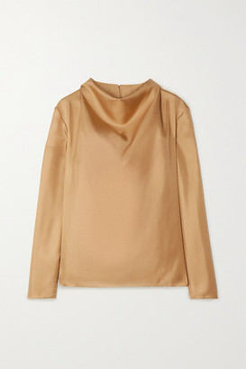 TOVE Leone Draped Silk-twill Top - Gold