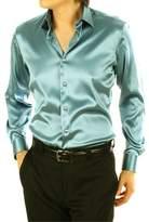 Dreamtao Men Fashion Silk Satin Mens Long Sleeve Couples Shirt Wedding Dress Shirts