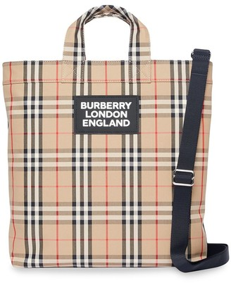 Burberry Logo Applique Vintage Check Cotton Blend Tote