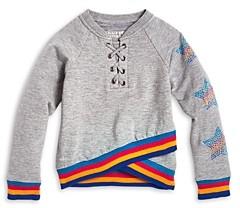 Butter Shoes Girls' Stars & Stripes Cross Front Sweatshirt - Little Kid
