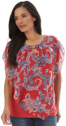 Apt. 9 Women's Print Split-Shoulder Top