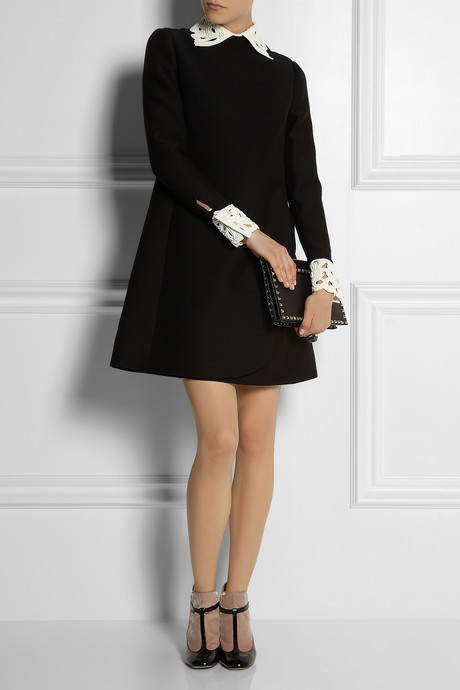 Valentino Leather-trimmed wool-blend dress