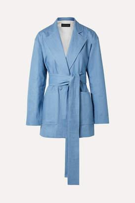 Michael Lo Sordo Oversized Belted Double-breasted Denim Blazer - Light blue