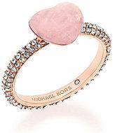 Michael Kors Pave & Carved Rose Quartz Heart Cocktail Ring