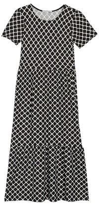 Velvet Torch Geo Print Short Sleeve Tiered Midi Dress