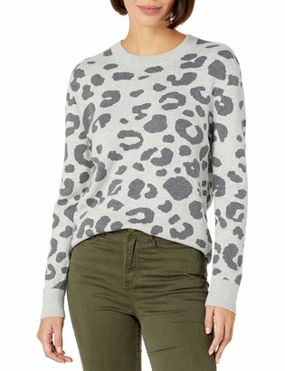 Daily Ritual Amazon Brand Women's Ultra-Soft Leopard Jacquard Crewneck Pullover Sweater Heather Grey Print Small