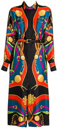 Versace Rodeo Night Silk Twill Belted Shirtdress