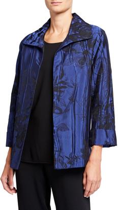 Caroline Rose Crinkle Rose Jacquard A-Line Jacket