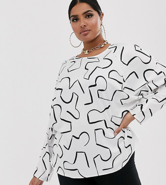 Asos DESIGN Curve batwing top in abstract print-Multi