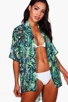 boohoo Ruby Leaf Print Beach Kimono green
