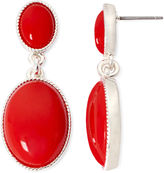 Liz Claiborne Red Gold-Tone Double Drop Earrings