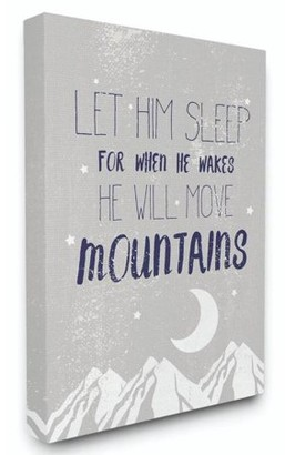 The Kids Room by Stupell Let Him Sleep Blue Mountains Kids Word Design Canvas Wall Art by Daphne Polselli
