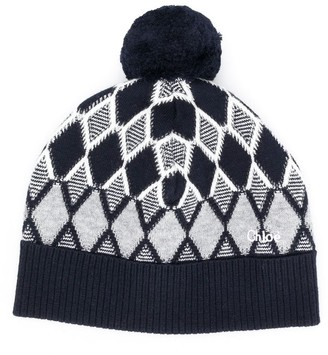Chloé Kids Argyle Knit Pompom Hat