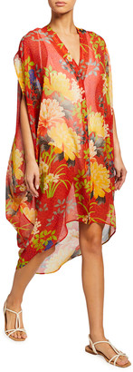 Etro Ponza High-Low Floral-Print Coverup Kaftan