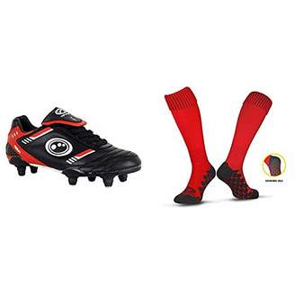 Optimum Boys' Tribal Lace Up 6 Stud Football Boots, Red (Black/Red), 33 EU with Men's Classico Sports Socks, Red, Junior (3-6)