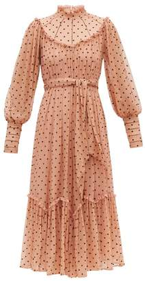 Zimmermann Espionage Polka-dot Silk-chiffon Midi Dress - Womens - Pink Print