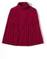 Lands' End Women's Cashmere Cable Turtleneck Cape Sweater-Deep Scarlet